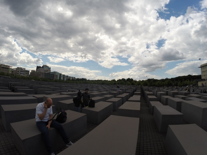 Memorial for the Murdered Jews in Europe.  Kids play on this.