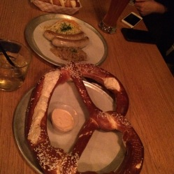 giant pretzel and sausage