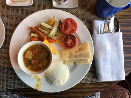 gotta have my morning idli and sambar! (the white thing and bowl)